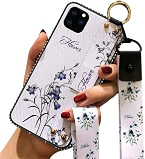 Aulzaju Case for Samsung Note 10 Plus, Note 10 Plus Wrist Strap Lanyard Case Note 10 Plus Fashion Flower Case with Ring Stand Holder Note 10 Plus Bling Case with Neck Shoulder Rope for Women-White