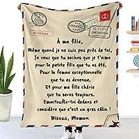 私の娘の息子の妻の手紙印刷されたキルトの息子の毛布の毛羽立ち毛毛髪毛布の良い励ましと愛の贈り物を愛する新年の贈り物 (Color : E, Size : 130x150cm)
