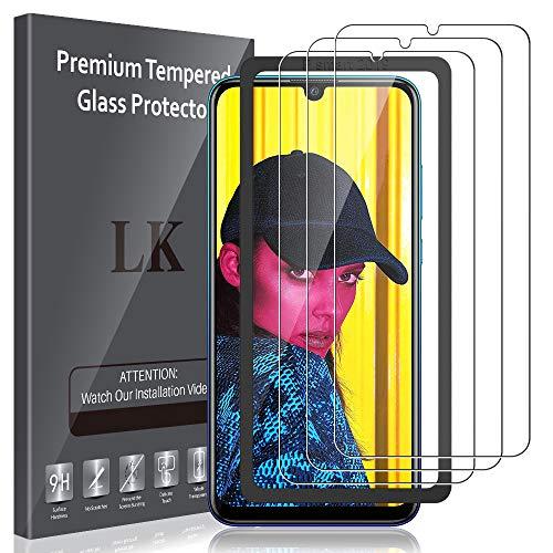 LK Compatible con Huawei P Smart 2019 / Honor 10 Lite Protector de Pantalla,3 Pack,9H Dureza Cristal Templado, Equipado con Marco de Posicionamiento,Vidrio Templado Screen Protector