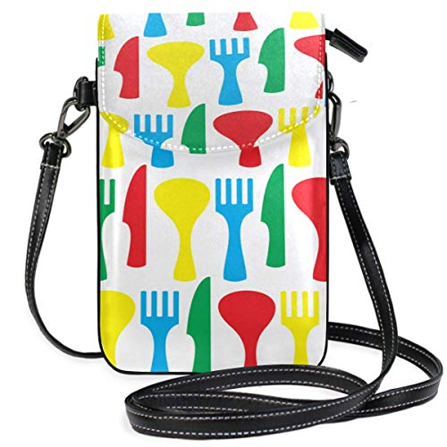 AEMAPE Leather Crossbody Bags For Women Small Knife And Fork Eating Tools Print Crossbody Purse For Men Phone Bag Wallet Purse Wallet Travel Passport Bag Handbags For Women