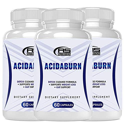 Acidaburn Weight Management Capsules - Acidaburn Pills - Acidaburn Dietary Supplement - Acidaburn Detox Cleanse Formula + Gut Support (180 Pills - 3 Month Supply)