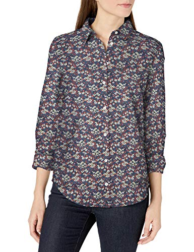Amazon Essentials Relaxed-fit Long-Sleeve Linen Shirt Hemd, Marineblau mit mehrfarbigem Blumenmuster, XXL