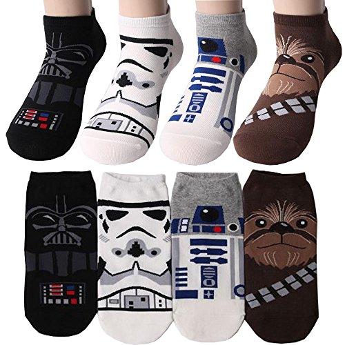 Krieg der Sterne Charakter Herren Knöchel Socken 4 Paaren - Darth Vader, Sturmtruppler, R2-D2, Chewbacca Sneakersocken