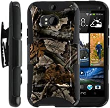 TurtleArmor | Compatible with HTC One M8 Case | HTC One Case [Hyper Shock] Hybrid Dual Layer Armor Holster Belt Clip Case Kickstand - Tree Leaves Camouflage