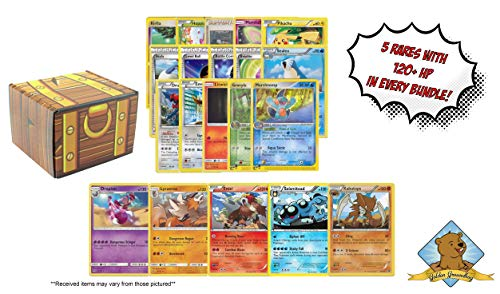 100 Pokemon Card Lot - Bonus 5 Rares All 120 HP or Higher! Includes Golden Groundhog Treasure Box! image