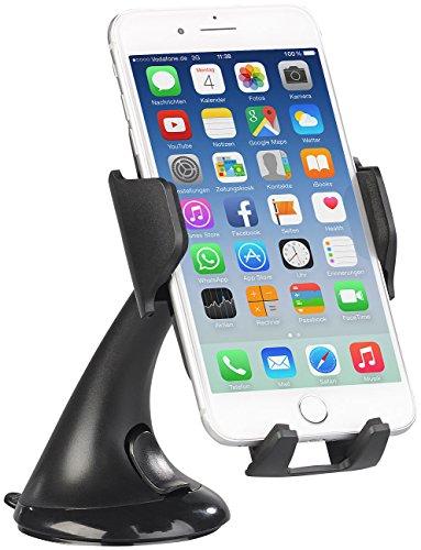 Callstel Qi-kompatibler Kfz-Halter mit Saugfuß, für Smartphone bis 9 cm, 5 Watt
