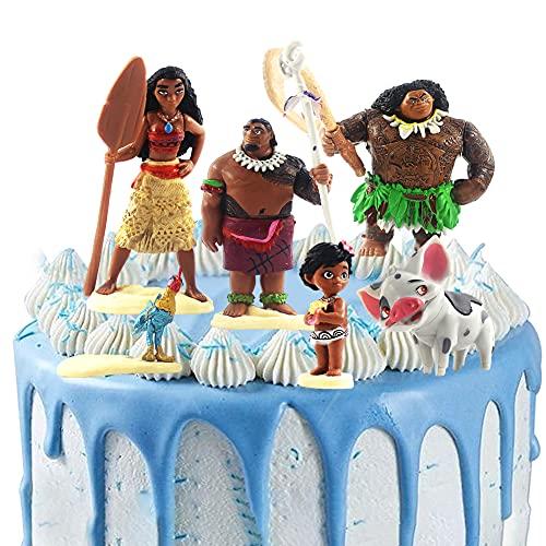 Figura De Moana Maui, Hilloly 6 Piezas Muñecas Moana Maui, Decoraciones Para Tartas De Moana Maui, Decoración Para Niños Regalo De Cumpleaños