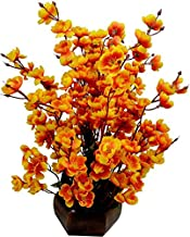 Bageecha Garden's Artificial Blossom Flower with Wooden Vase(10 inchs/ 25 cms) For Indoor And Outdoor Decoration Of Your Office and Home (Yellow)