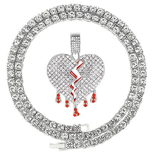 HH Bling Empire Iced Out Broken Heart Chains for Men Women Silver Gold Diamond Heartbreaks Pendant Tennis Necklaces 22 Inches (Heart E-Silver, & Tennis)
