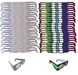 Fireworks Diffraction Glasses - 25 Rainbow Hearts (Plain White Frames) plus 25 Starburst Effect (Rave Waves Frames) - 50 Glasses Total for Fireworks, Holiday Lights, Wedding Receptions, Rave Events