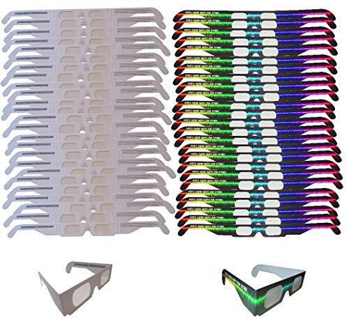 Fireworks Diffraction Glasses - 25 Rainbow Hearts (Plain White Frames) plus 25 Starburst Effect (Rave Waves Frames) - 50 Glasses Total for Fireworks, Holiday Lights, Wedding Receptions, Rave Events
