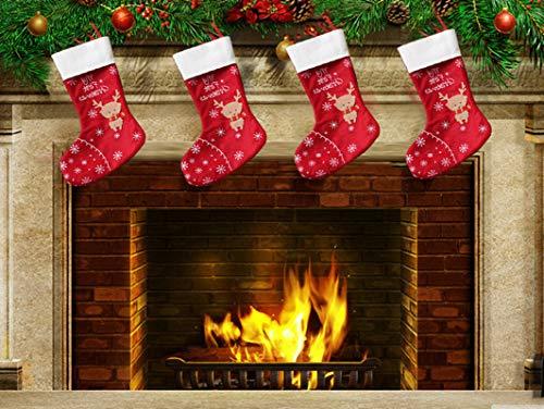 Topanke Set da 4 Camino Calza di Natale, 35m x 30cm Elk Calze Natalizie da Appendere Candy Sacchetti...