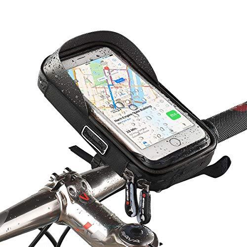 Smartphone-Halterung, Handy-Tasche für Fahrrad kompatibel mit Apple iPhone XS Max,XR,X,8,8 Plus/Samsung Galaxy Note 8,S10,S9,S8,S8+,S,S7 Edge/LG G6,G4/Huawei P20,P10,Mate/Motorola usw. Schwarz