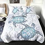 Sleepwish Turtle Print Comforter Set 3D King Size Comforter Royal Aqua Blue 4 Pieces Abstract Tortoise Bedding Sets with with 2 Pillow Shams and 1 Cushion Cover Reversible Super Soft and Fluffy