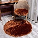 JYHQ Cojín de felpa, piel de oveja sintética ultra suave, cojín para silla mecedora de sofá, lavable a máquina para un fácil cuidado, 1 pieza marrón redondo 45 x 45 cm