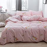 LAYENJOY Unicorn Duvet Cover Set Queen, 100% Cotton Bedding, Cute Unicorn Rainbow Cloud Pattern Printed on Pink Reversible Striped, 1 Comforter Cover Full and 2 Pillowcases for Kids Teens Boys Girls