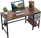 HOMIDEC Pc Tisch, Computertisch mit 2 Schubladen, Schreibtisch Bürotisch Schreibtisch Holz, Arbeitstisch Büromöbel fürs Büro, Wohnzimmer, 120 x 60 x75cm