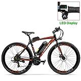 RPHP600 Potente Bicicletta elettrica 36V 20A Batteria Bicicletta elettrica 700C Bici da Strada Freno a Doppio Disco Telaio in Lega di Alluminio Mountain Bike-LCD Rosso_10AH