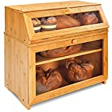 Enjahomx Large 3 Layer Bread Box for Kitchen Countertop - Bamboo Breadbox with Clear Window and Adjustable Shelf - Farmhouse Style Bread Storage Bin Holder (Self-Assembly)