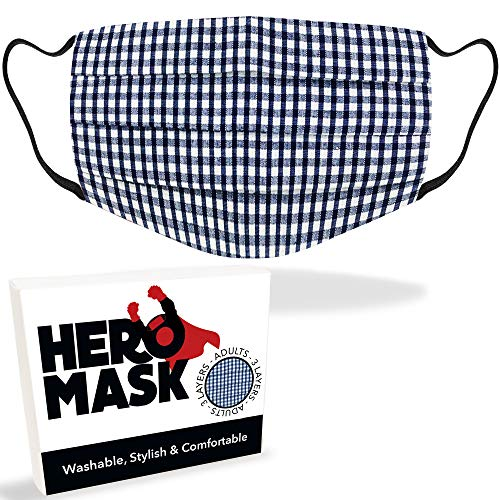 Hero Mask Navy Gingham Reusable Face Mask UK from 3 Layers of Blended Cotton | Reusable Navy Gingham Face Mask | Made in London | Wash Over 100 Times