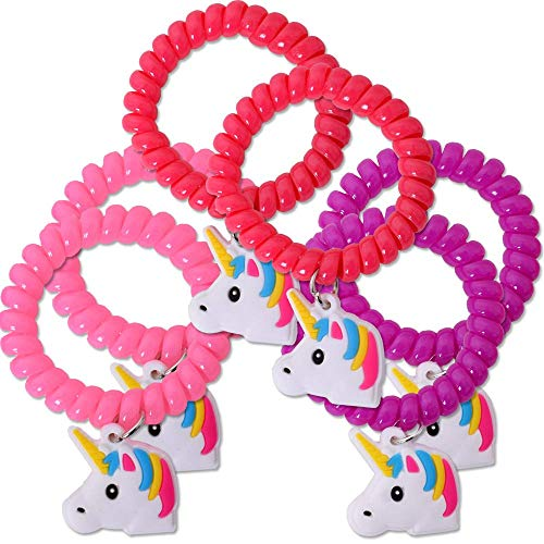 TE-Trend 6 Piezas Unicornio Caballo Cinta en Espiral Joya Pulsera Pulseras Set Brazalete Colgante 50mm Fiesta Cumpleaños Regalo Surtido
