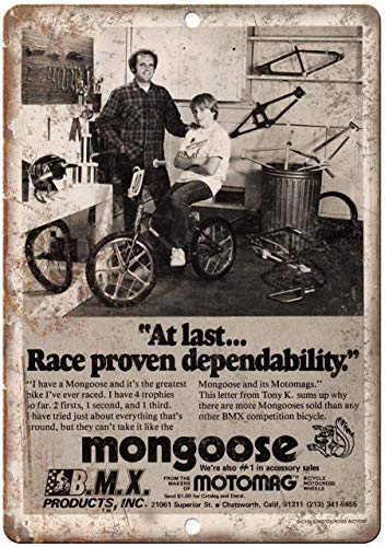 Todghrt Mongoose BMX Motomag Bicycle Vintage Ad Riproduzione Metal Sign 30,5 x 40,6 cm Alluminio Tin Sign.