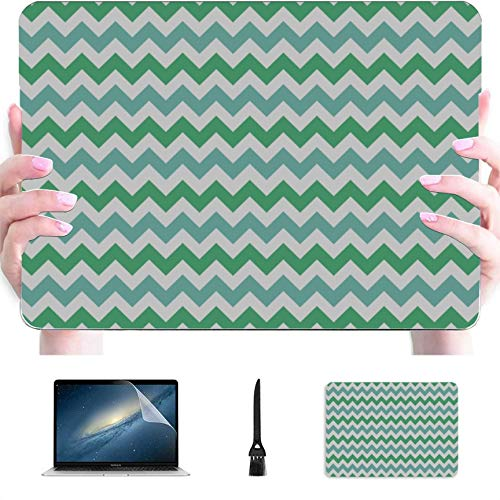 Protective MacBook Pro Case Zigzag Geometric Simple Summer Color Plastic Hard Shell Compatible Mac Mac Computer Cover Protection Accessories for MacBook with Mouse Pad