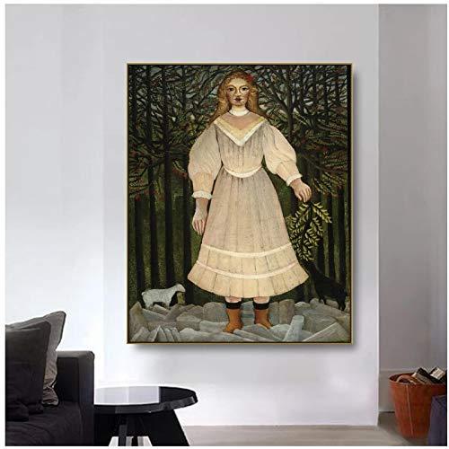 Carteles e impresiones de pintura en lienzo de caballero de mujer Astract imágenes artísticas de pared para la decoración del hogar de la sala de estar -60x80cm sin marco