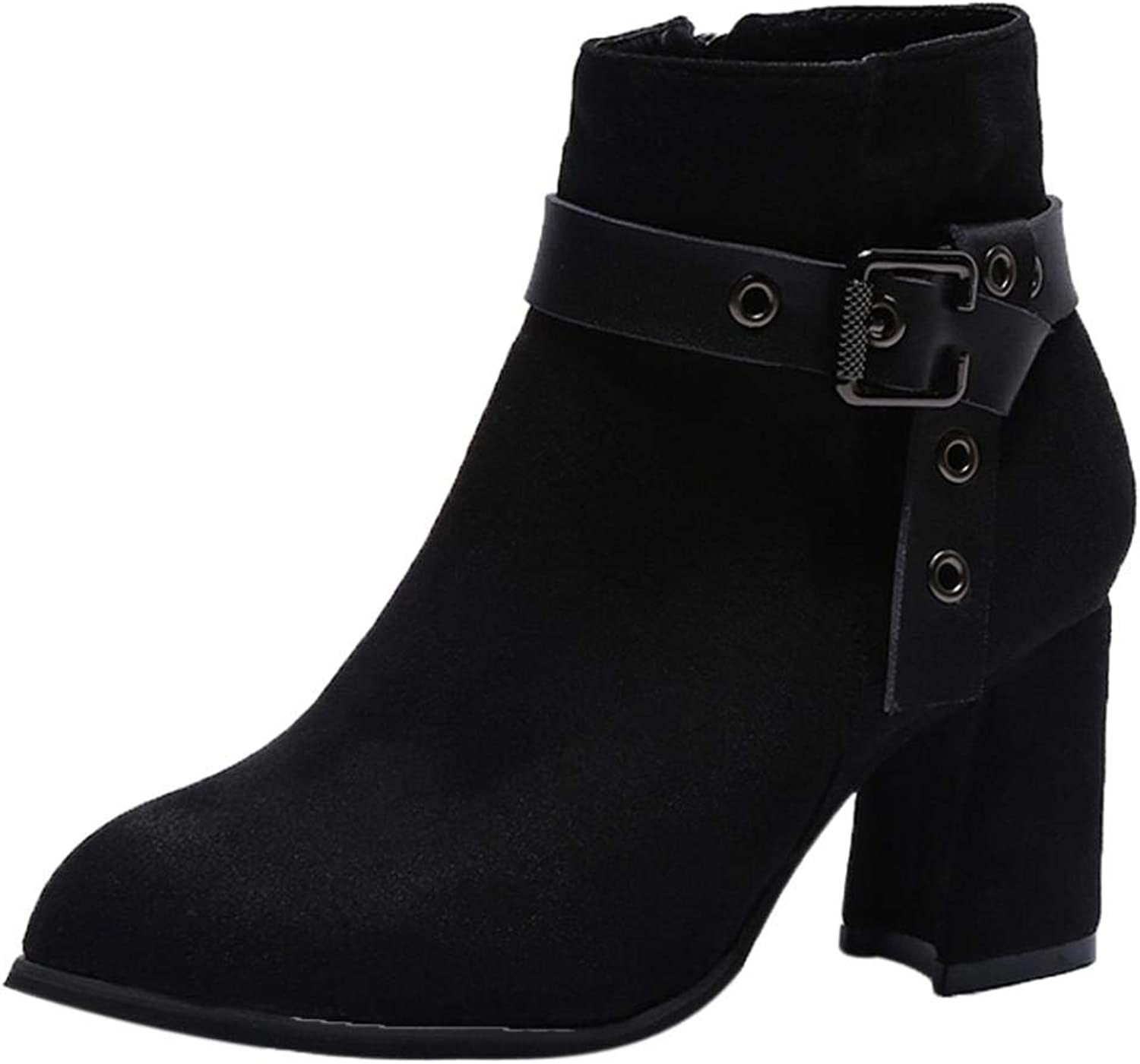 Lady Boots Fashion Women Boots Round Head High Heel Martin Boots Classic Ankle Leisure Elegant Soft Wild Tight Super Quality Black for Womens