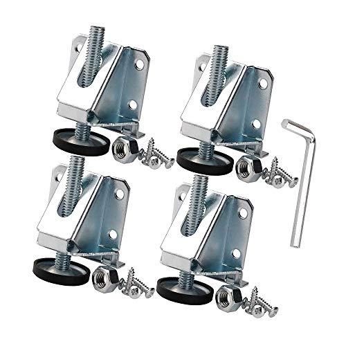 4 patas niveladoras de muebles de acero resistente con tornillos y llaves para mesas, armarios, estanterías