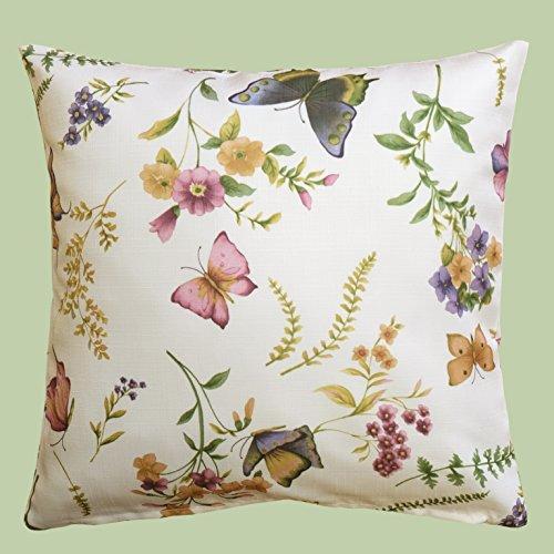 Kamaca Serie Schmetterlinge AUF DER BLUMENWIESE in Creme mit zarten Pastelltönen EIN Schmuckstück in jedem Raum (Kissenbezug 50x50 cm)