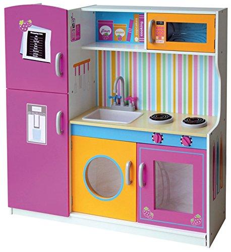 Leomark Multi Küche, Spielküche aus Holz - Pink Farbe - Holzküche für Kinder mit Wasserhahn, Funktionale Bunte Spielzeug, für Mädchen und Jungen, wunderschönes Design, Maße: 104 x 30 x 110 (Höhe) cm
