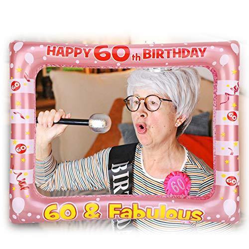 HOWAF 60 Anni Compleanno Photo Booth Prop Cornice Gonfiabile Cornice per Selfie 60 Anni Compleanno Cornice Foto Props Accessori per Decorazione 60 Compleanno Donna Ideale Come Regalo