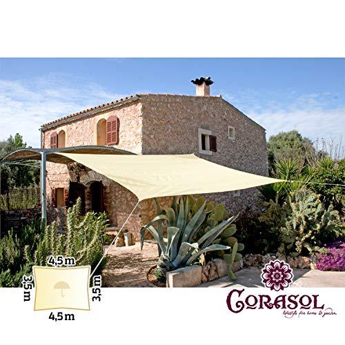 Corasol 110329 Premium Sonnensegel inkl. Zubehör, 3,5 x 4,5 m, Rechteck, wasserabweisend, Creme-weiß