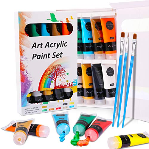 WOSTOO Pintura Acrílica 13 set Acrílicos No Tóxicos 10 Colores x 120ml + 3 Pinceles Perfectos para usar en Lienzo, Madera, Papel, Cartón, Plástico Colores para Principiantes y Artistas Profesionales