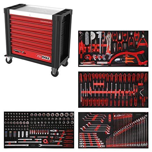KS Tools 825.4285 PERFORMANCEplus Werkstattwagen P25, bestückt mit 285 Werkzeugen in 4 Einlagen für 4 Schubladen