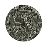 Reloj de Pared Vintage,Fondo de ilusión óptica geomét,Relojes de Pared de Madera silenciosos Que no Hacen tictac,Reloj de Pared rústico de Granja para la decoración del Dormitorio de la Sala de Estar
