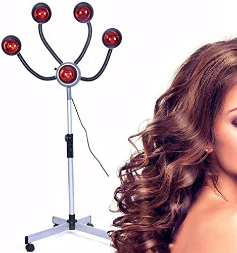 Wxnnx 750W Infrared Heat Lamp Red Light,5 Head Portable Hair Dryer Stand Up Color Processor, Hairdresser Salon Barber Equipment