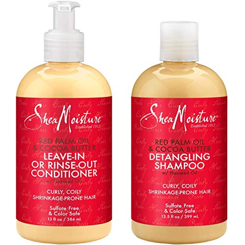 Shea Moisture Shampoo & Conditioner Set Red Palm Oil & Cocoa Butter, Rinse Out Or Leave In, 13.5 Ounce Each