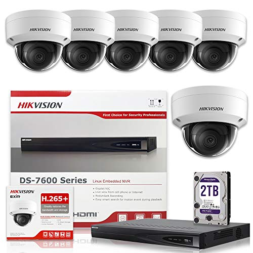 Hikvision DS-7608NI-E2/8P 8CH 8 POE NVR Includes a 2TB HDD & 6pcs DS-2CD2143G0-I 2.8mm 4MP POE Dome Camera Kit