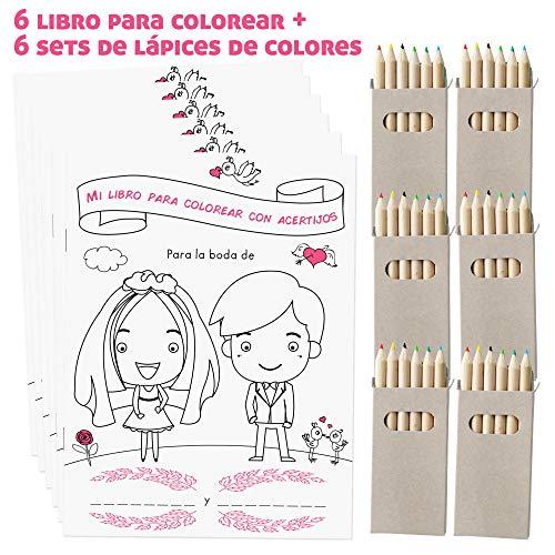 WEDDNG Libro de Bodas para Colorear para niños DINA5, con 28 páginas para Colorear y Resolver acertijos, con lápices de Colores, (6 Libros para Colorear + Set de 6 lápices de Colores)