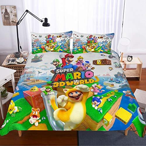Funda nórdica Mario, juego de cama de microfibra 3D Super Mario Juego de edredón ultra suave para niños con 2 fundas de almohada (M6, doble 200 x 200 cm)