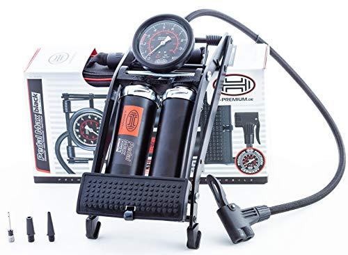 Heyner Pedalmax Pro Fußpumpe,140PSI, 10Bar, Black Edition,Premium, Doppelzylinder, zusätzliche Aufsätze