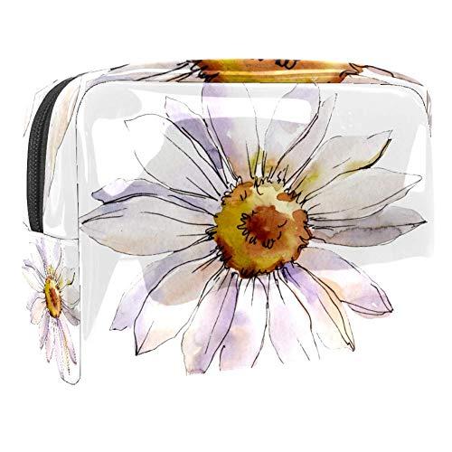 Aquarelle à pois et cercles de fleurs à motif de maquillage portable sac de maquillage outil de rangement pour les voyages femmes hommes Multicolore Couleur 7 18.5x7.5x13cm/7.3x3x5.1in