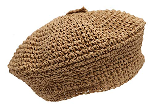 surell - Straw Beret - Hand Woven Raffia Style Beach Sunhat - Sunny Beachy Gift