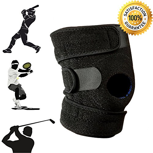 Knee Brace Support Sleeve for Arthritis, ACL, Running, Basketball, Meniscus Tear, Sports, Athletic. Open Patella Protector Wrap, Neoprene, Non-Bulky, Relieves Pain, Best Braces