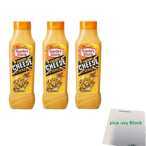 Gouda's Glorie Creamy Cheese Style Sauce 3er Pack (3x850ml Flasche) + usy Block
