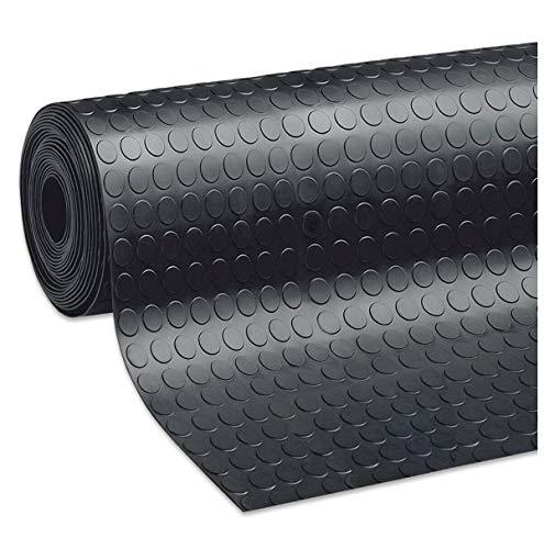 Alfombra antideslizante de goma para cubrir el suelo, color negro, resistente, varios tamaños