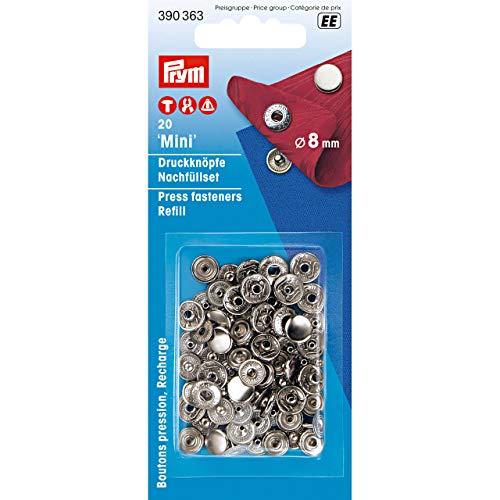 Prym 390363 Nachfüllpackung für 390360 Nähfrei Druckknopf Mini, Messing silberfarbig, 8 mm, Metal
