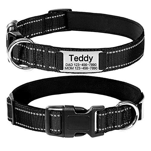 Oncpcare Personalisiertes Hundehalsband, individuelle Gravur mit Haustiernamen und Telefonnummer, reflektierendes besticktes Hundehalsband